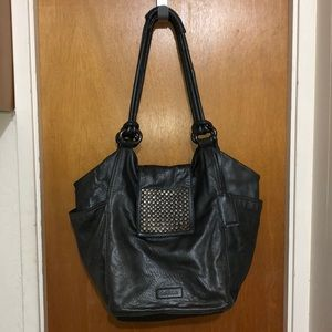 🏆CALVIN KLEIN Black Leather Studded Flap Hobo Bag